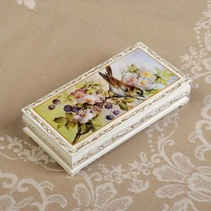 Шкатулка - купюрница «Птица на ветке», белая, 8,5?17 см, лаковая миниатюра