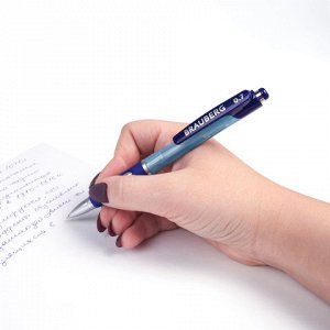 """Ручка шариковая автоматическая с грипом BRAUBERG """"Neo"""", СИНЯЯ, корпус синий, узел 0,7 мм, линия письма 0,35 мм, 141074"""