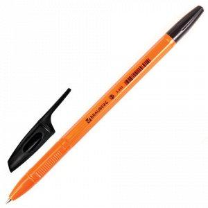 """Ручка шариковая BRAUBERG """"X-333 Orange"""", ЧЕРНАЯ, корпус оранжевый, узел 0,7 мм, линия письма 0,35 мм, 142410"""