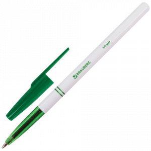 """Ручка шариковая BRAUBERG """"Офисная"""", корпус белый, узел 1 мм, линия письма 0,5 мм, зеленая, 141511 (Цена за 24 штуки)"""