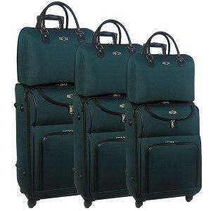 Комплект чемоданов Borgo Antico. 6088 green. 4 съёмных колеса.