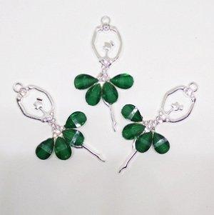 Декоративный элемент Цв.Серебро. Балерина. Зеленый.