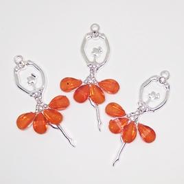 Декоративный элемент Цв.Серебро. Балерина. Оранжевый.