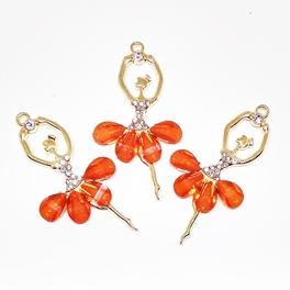 Декоративный элемент Цв.Золото. Балерина. Оранжевый.