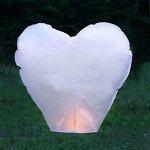 Небесный фонарик Сердце белый