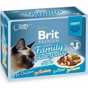 Brit Premium набор паучей д/кош Семейная тарелка/Соус 12*85гр (1/1)