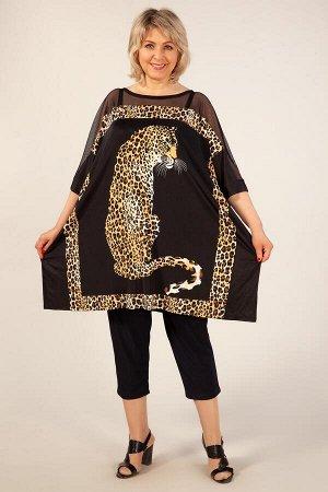 Пончо Черный Нарядное женское пончо, выполнено из легкого, струящегося трикотажного полотна с анималистическим принтом. Впереди по плечевому поясу вставка из сетки. Рукав до локтя на манжете. Спинка п