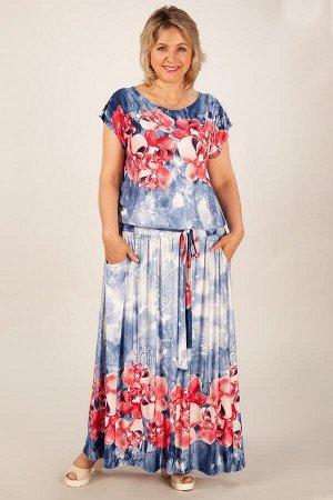 Платье Анджелина-2 джинс/цветы красные