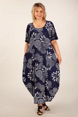 Платье Вероника-2 узоры на синем