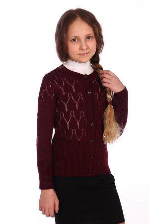 Кардиган Цвет: бордо; Состав: акрил 100%; Материал: вязаное трикотажное полотно Красивый кардиган на девочку, прекрасно подойдет к школе!