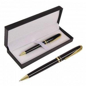 Ручка подарочная шариковая в кожзам футляре поворотная Черная с золотом