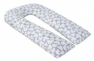 """Подушка для беременных """"AmaroBaby"""" U-образная,340*35 см. (файбер, бязь) мышонок вид серый"""