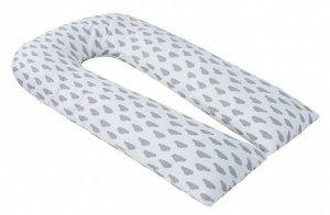 """Подушка для беременных """"AmaroBaby"""" U-образная,340*35 см. (файбер, бязь) облака вид серый"""