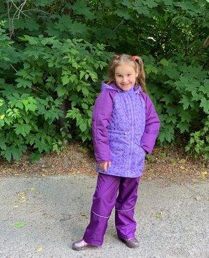 Куртка для девочек демисезонная (Ткань верха DEWSPO PU MILKY, утеплитель синтепон 200г/кв.м, подкладка Taffeta 190, в рукавах тр