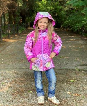Куртка для девочек демисезонная (Ткань верха DEWSPO PU MILKY, утеплитель синтепон 200г/кв.м, подкладка Taffeta 190. Капюшон отст