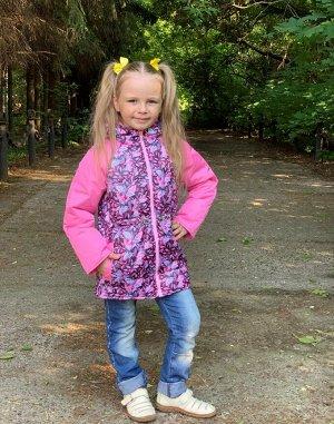Куртка для девочек демисезонная (Ткань верха плащевая FITSYSTEM/ DEWSPO PU MILKY, утеплитель синтепон 200г/кв.м, подкладка Taffe