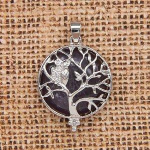 BJK083-01 Кулон Дерево d.2,7см с камнем Аметист оптом