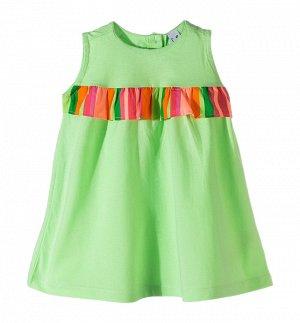 """Платье """"Платье для девочек. Модель выполнена из хлопкового трикотажа.  Детали: - круглый вырез; - на спине застежка; - на груди широкая оборка с резинкой."""""""