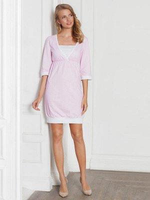 Платье домашнее Betty розовая клетка  интерлок