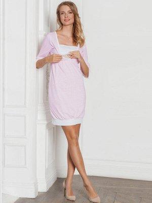 Платье домашнее Betty розовая клеткаинтерлок