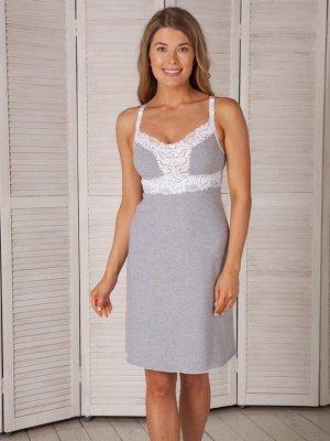 Сорочка для кормления Melissa серый  -меланж- (хлопок 95% эластан 5%)