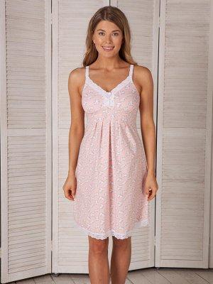 """Сорочка для беременных и кормящих """"Nikol"""" со встроенной поддержкой груди  -розовый- (хлопок 95% эластан 5%)"""