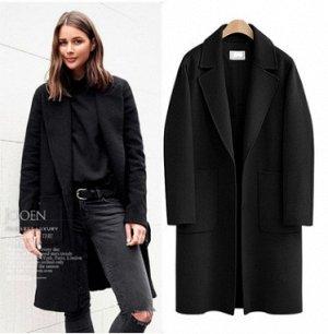Пальто Пальто, оформленное воротником с лацканами, смесь шерсти/полиэстер. Размер (обхват груди, длина рукава, длина изделия, см): M (98,57,95), L (104,58,96), XL (110,59,97), 2XL (116,60,98), 3XL (12