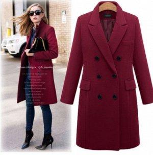 Пальто Пальто, оформленное воротником с лацканами, смесь шерсти/полиэстер. Размер (обхват груди, длина рукава, длина изделия, см): XL (104,60,88), 2XL (110,60.5,89), 3XL (116,61,90), 4XL (122,61.5,91)