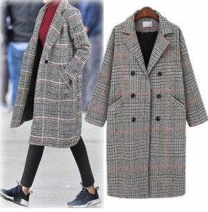Пальто Пальто, оформленное воротником с лацканами, смесь шерсти/полиэстер. Размер (обхват груди, длина рукава, длина изделия, см): XL (106,45,100), 2XL (112,46,101), 3XL (118,47,102), 4XL (124,48,103)