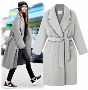 Пальто Пальто, оформленное воротником с лацканами, смесь шерсти/полиэстер. Размер (обхват груди, длина рукава, длина изделия, см): L (110,68,97), XL (114,69,98), 2XL (118,70,99), 3XL (122,71,100), 4XL