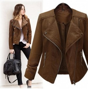 Куртка Куртка, оформленная длинными рукавами, искусственная кожа/полиэстер. Размер (обхват груди, длина рукава, длина изделия, см): XL (96,58,56), 2XL (102,59,57), 3XL (108,60,58), 4XL (114,61,59), 5X