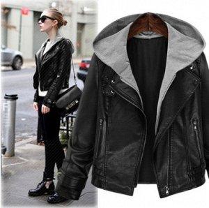 Куртка Куртка, оформленная длинными рукавами и капюшоном, искусственная кожа/полиэстер. Размер (обхват груди, длина рукава, длина изделия, см): XL (98,57,55), 2XL (104,57.5,56), 3XL (110,58,57), 4XL (