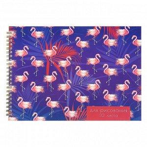 Альбом для рисования А4, 32 листа на гребне Calligrata «Фламинго», обложка мелованный картон, блок 100 г/м?