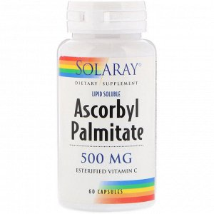 Solaray, Аскорбилпальмитат, 500 мг, 60 капсул