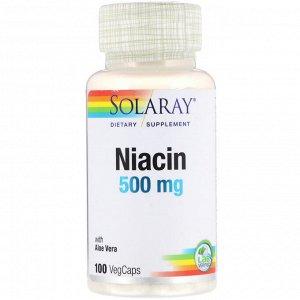 Solaray, ниацин, 500 мг, 100 капсул