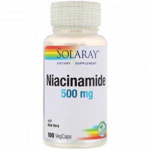 Solaray, Никотинамид, 500 мг, 100 капсул с оболочкой из ингредиентов растительного происхождения