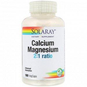 Solaray, Кальций и магний в соотношении 2:1, 180 вегкапсул