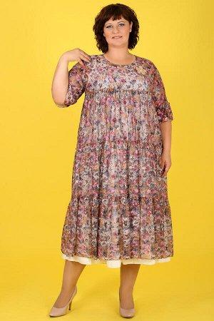 20-26 ДАДАШ L053.С1 Платье-двойка+ брошьбежево-розовый