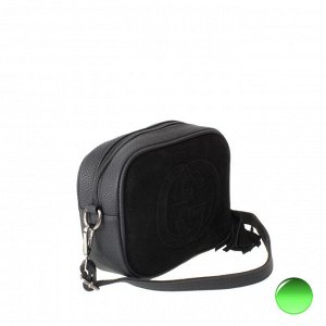 Стильная женская сумочка через плечо Glow_Gerel из натуральной замши и эко-кожи черного цвета.