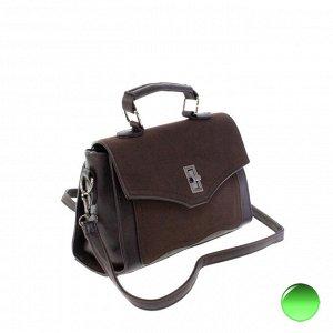 Стильная женская сумочка через плечо Mechel_Fols из эко-кожи шоколадного цвета.