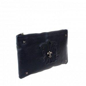 Стильный женский клатч Combol_Elonge из мягкой мелкозернистой натуральной кожи черно-синего цвета.