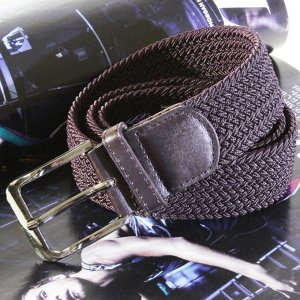 Батал. Текстильный плетеный ремень-резинка унисекс шоколадного цвета. Длина 110 см