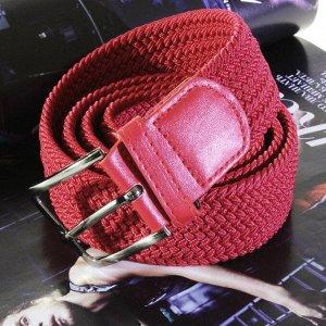 Текстильный плетеный ремень-резинка унисекс красного цвета. Длина 100 см.