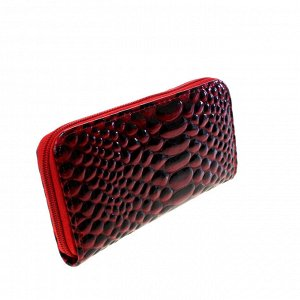 Модный женский кошелек Sao из эко-кожи красно-клубничного цвета.