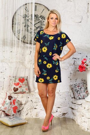 """Платье """"Николь"""" синий жёлт. цветы"""