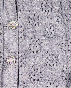 Серый вязанный джемпер для девочки Цвет: св.серый