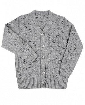 Вязанный серый джемпер для девочки Цвет: т.серый
