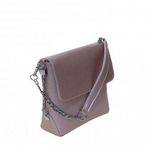 Трендовая женская сумочка через плечо Flonge_Istel из натуральной кожи жемчужно-розового цвета.