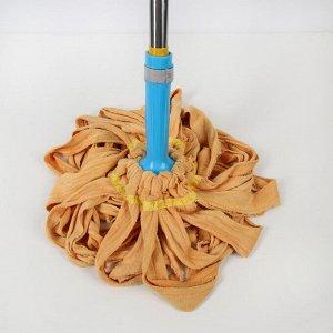 Швабра с отжимом Доляна, телескопическая стальная ручка 80-124 см, насадка из микрофибры, цвет МИКС