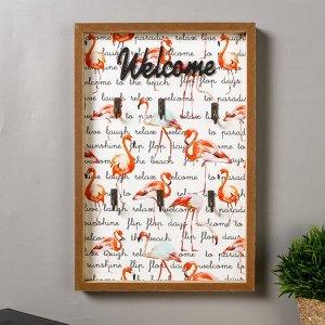 """Крючки декоративные дерево """"Фламинго - welcome"""" 30х20х2,6 см"""